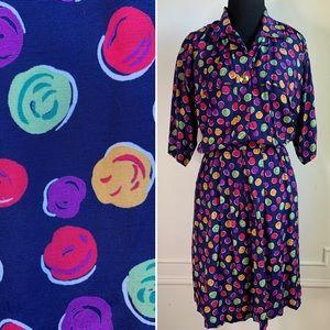 Vintage Liz Claiborne Multicolor Polka Dot Romper